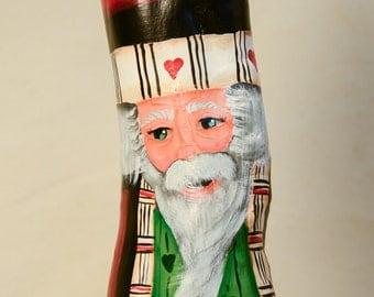 Hand Painted Cypress Knee Santa