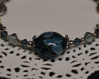 Denim Blue Floral Bracelet Lampwork Glass Bead Valentiens Day Beadwork Bracelet
