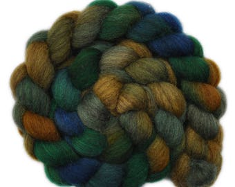 Hand dyed roving -  Gray Blue Faced Leicester (BFL) wool spinning fiber - 3.9 ounces - Winding Road 3
