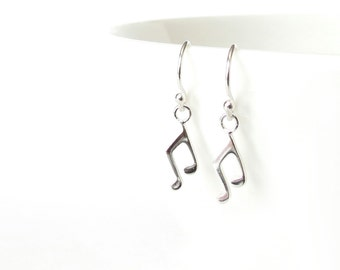 Musical note earrings in sterling silver, music lover gift idea, cute present for musician friend, petite earrings dangle style