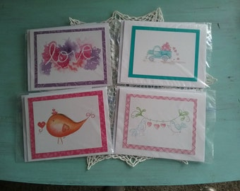 Greeting Cards Watercolor Handmade  All occasion cards birds flowers hearts birthday mothers day fathers day get well thankyou