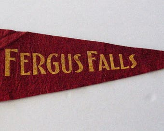 Vintage 1940's FERGUS FALLS Felt Pennant Red with Gold Trim Minnesota Collector's Banner Flag Patch