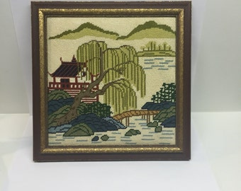 Vintage Framed Needlepoint Pagoda scene Asian