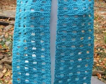 "Crocheted Scarf - Blue Mint - Open Box - 6"" X 60"" Premium Soft Acrylic Yarn - Neck Warmer"