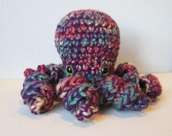Tessa the Octopus : handmade crochet stuffed purple and rainbow toy