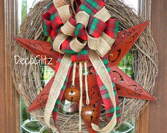 RED STAR Grapevine Christmas Wreath with Red Plaid Flannel and Jute Bow and Rustic JINGLE Bells