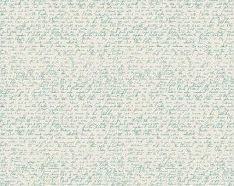 Ava Rose by Deena Rutter for Riley Blake Designs, Script Teal, SKU C5876, 1 yd