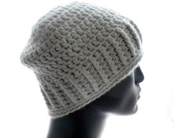 Upcycled Cashmere Hat, Men's Gray Crochet Beanie Hat, Medium Size