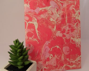 Red & pink A5 textured digitally marbled notebook, 40 plain pages