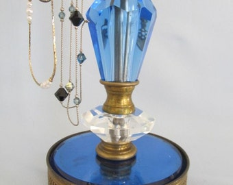 French Deco Necklace Holder | 5 Arms | Revolving | Adjustable | Cobalt Blue | Upycled Lamp Parts | Gifts for Her