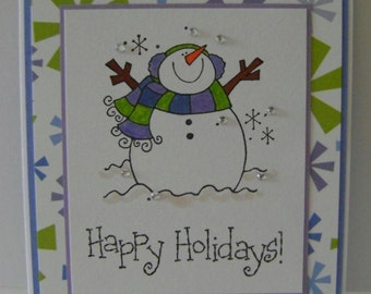 READY TO SHIP - Value Priced *** Boxed Set of 6 Snowman/Happy Holidays Note Cards