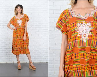 Vintage 70s Red + Orange Geometric Dress Striped Ethnic Midi Large L 9209