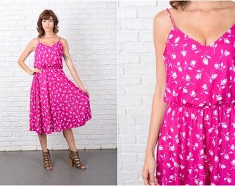 Vintage 80s Pink Retro Dress Magenta White Floral Print Sweetheart Medium M 9458