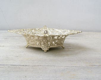 Silver Oval Bowl Art Nouveau, Vintage Bowl Silver Plated, Small Trinket Bowl Footed, Victorian Serving Dish, Mid Century Wedding Candy Bowl
