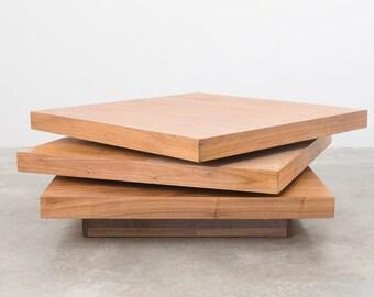 Mid Century 3 Tier Square Swivel Table