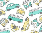 Volkswagen Bugs and Camper Van from Northcott's Tiny Treasures Hipsters on The Go Collection by Deborah Edwards