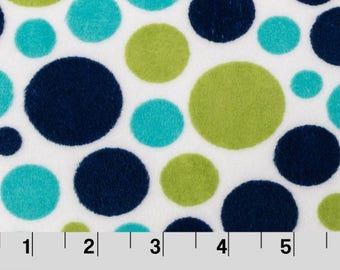 Midnight/Kiwi Bubble Dot Minky From Shannon Fabrics