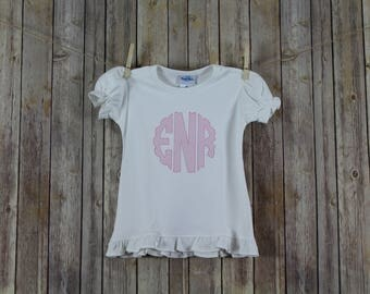 Scalloped Monogram Girls Shirts, Lattice Stitch Monogrammed Shirts for Girls, Baby Coming Home Outfit, Personalized Shirts for Girls