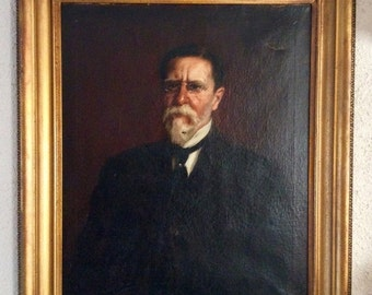 Sale Antique Oil Painting Portrait of a Gentleman Professor? 19th C. or Earlier O/C Framed Large Art Home Decor
