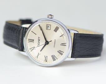 Men wristwatch Poljot Flight, silver shades men watch, classy men watch, dress watch, wind up watch quality mark, premium leather strap new