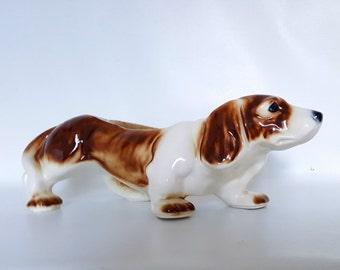Large Vintage Bassett Hound Dog Planter Bassett Hound Figurine Dog Figurine Dog Statue California Pottery Dog Planter Basette Hound Dog