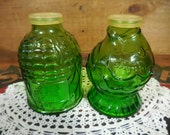 Vintage Wheaton Green Glass salt and pepper shakers