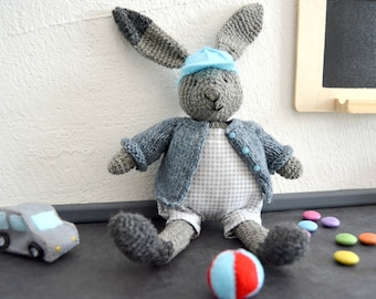Tim, crochet bunny and his toys, crochet rabbit, crochet toy, Ready to ship
