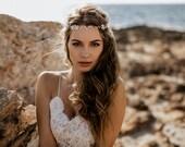 "Wedding Hair Accessory, Beaded Headband, Bridal Headband, Crystal Halo, Boho Bridal Crown ""Ida"""