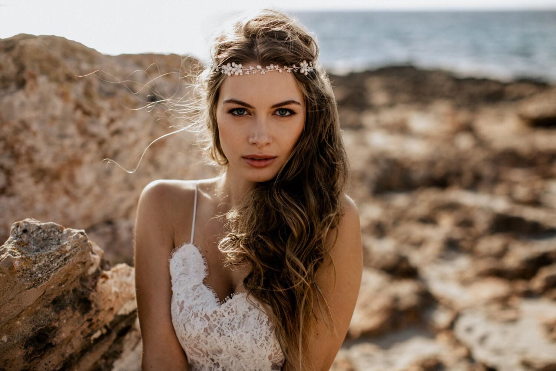 Headpiece Haarschmuck Boho Braut mit Perlen