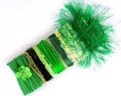 Xmas Gift Wrap Ribbon Idea - Green Fibers Yarn Card for Bows & Ribbons for Scrapbooking, Fiber Art, Felting, Collage, Mixed Media, etc - C22