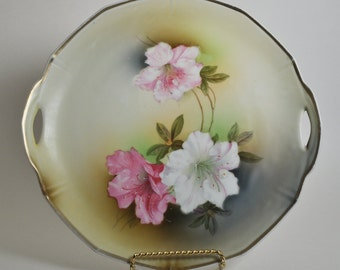 Antique Vintage German Hand Painted Floral Handle Sided Plate Plater Early 1900's - 10 Inch