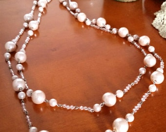 Long Champagne Pearl Bead Necklace, Flapper Pearl Beads