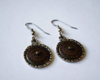 Vintage Signed NP Earrings, Engraved Brass Tone Fancy Silver Tone