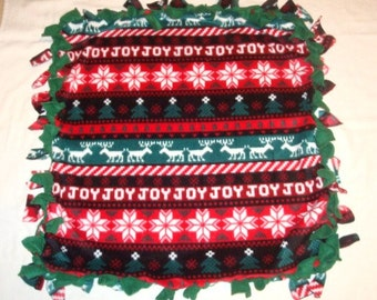 SALE Fleece Tie Pet Blanket for Cats or Small Dogs - Christmas Holiday Fair Isle Sweater Stripe