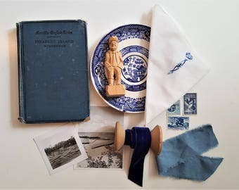 Vintage Photo Styling Prop Kit. Blue and White.  Photo Styling.  Stock Photography.  Vintage Photo Props.  Photography Prop.