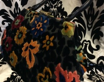 60's Terrific Floral  Tapestry Tote