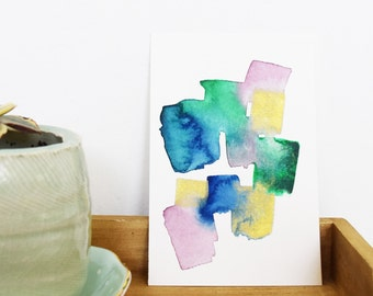 Watercolor postcard, small painting, abstract painting, abstract watercolor