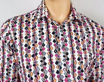 Vintage 1970's Men's EMILIO PUCCI Chesa OpTiC Op ArT MoD HiPPiE DiScO Shirt XXL 52