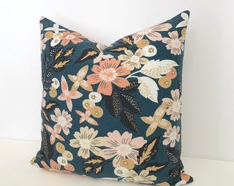 Modern floral decorative pillow cover, navy, black, pink pillow cover