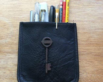 Black Leather Pencil Pouch with Vintage Skeleton Key-Reclaimed Leather Pouch Pocket-Artist Pouch