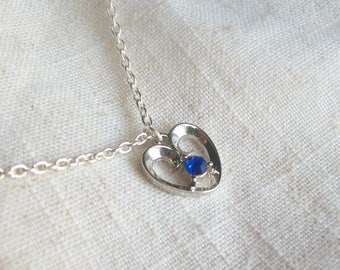 Silver Heart Necklace with Sapphire Crystal, Silver Heart Charm, Mother's Day, Birthday, Anniversary, Sterling Silver, Mothers Jewelry