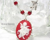 Sale Valentine necklace with cupid cameo, bird and crystal, free earrings.  Valentine's Day gift set, cameo jewelry