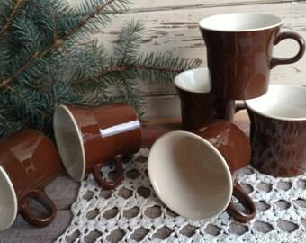 Vintage Art Pottery Mug Set of 6 Brown Mugs - Retro Coffee Cups, Six Dark Brown Tea Mug, Time For Tea / Coffee, Soup Mugs, Mod Brown Retro