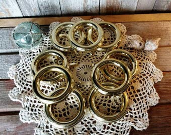 Retro Gold Curtain Rings Set of 8 - Vintage Cafe Curtain Rings, Home Decor, Hollywood Regency Drapery Rings, Curtain Hardware, Shiny Gold