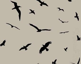Flock of Birds - Wall Decals, Peel n Stick Removable Stickers - Birds Nature Animals VWAQ