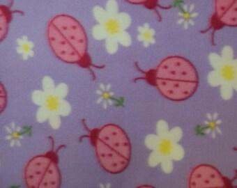 Ladybug Print Fleece Fabric by the yard