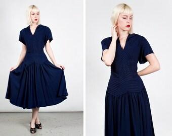 Vintage 1940s Sheer Navy Blue Drop Waist Dress