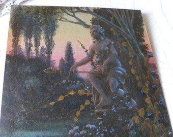 Antique oil painting mysterious garden landscape w garden statue, French 1900s signed oil painting on board European impressionist art