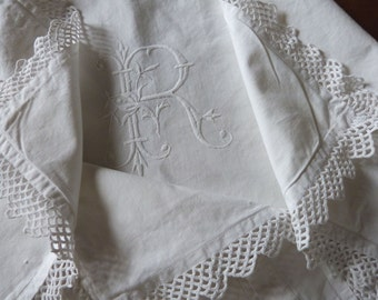 Antique French monogram pillowcase pillow cover cushion case w hand monogrammed R w hand crochet lace, vintage bed linens heirloom bedding