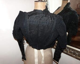 Victorian black lace blouse jacket Antique French jacket w handmade needle lace 1800s gothic steampunk clothing goth vestment made in France